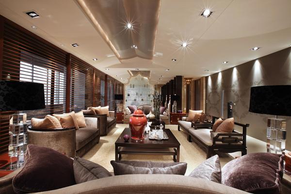 上海别墅装修-东南亚风格-客厅实景图