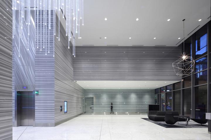 写字楼内公共空间装修效果图-前台实景图1